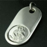 Saint Christopher LARGE Silver Dog Tag, personalised engraved ref LSCDT